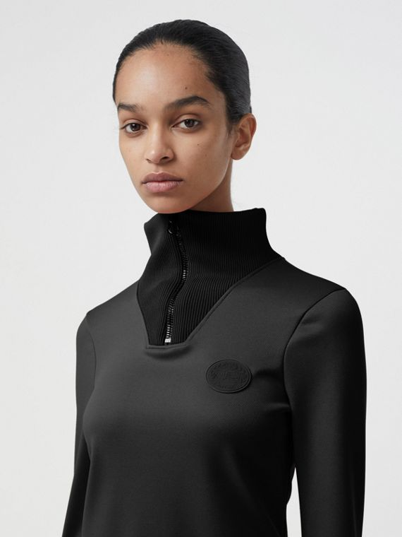 Zip Detail Funnel Neck Mini Dress in Black