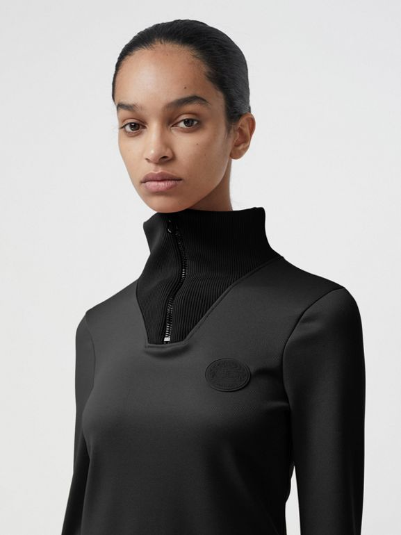 Zip Detail Funnel Neck Mini Dress in Black - Women | Burberry - cell image 1