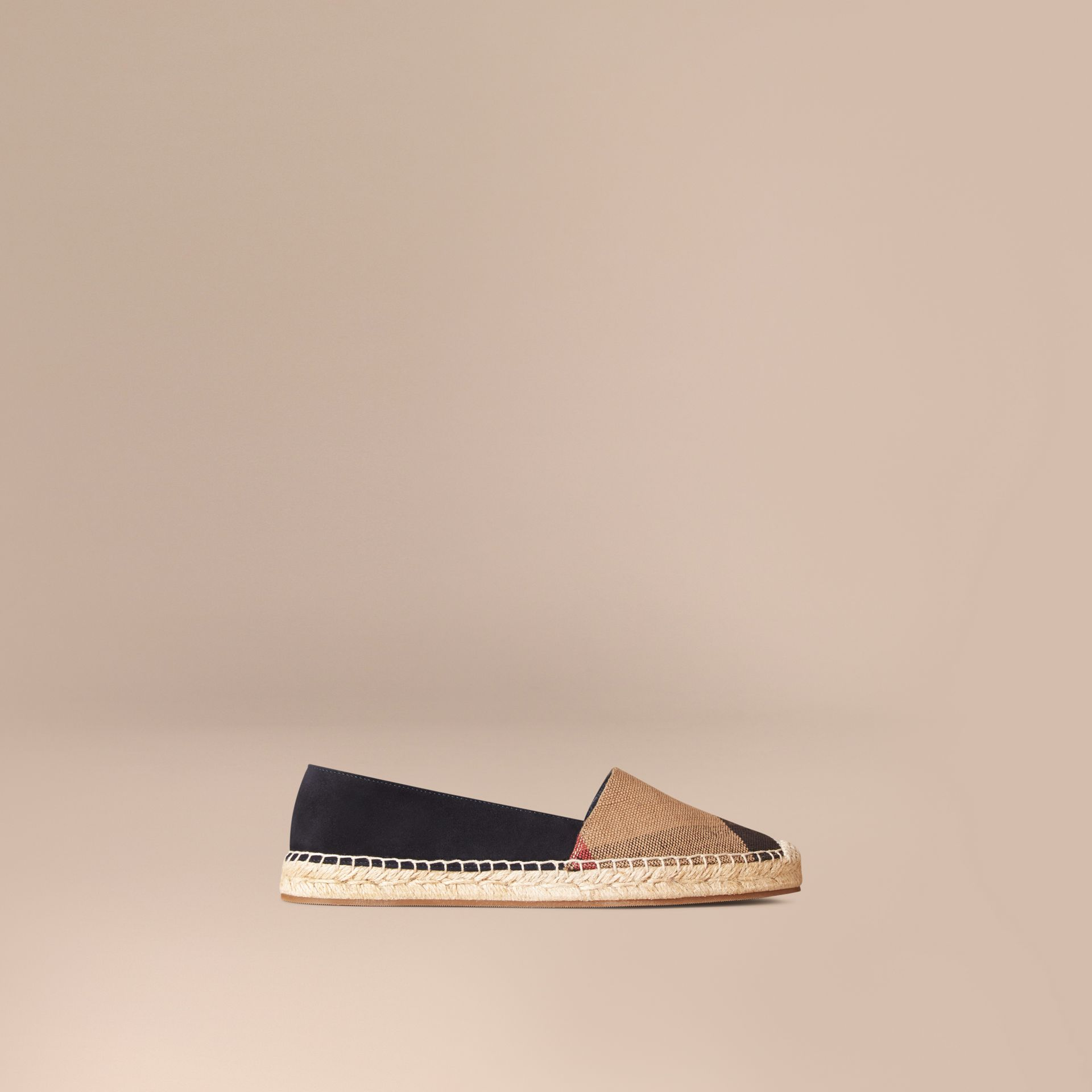 Navy Check Jute Cotton and Suede Espadrilles Navy - gallery image 1