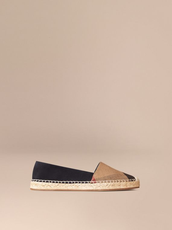 Check Jute Cotton and Suede Espadrilles Navy