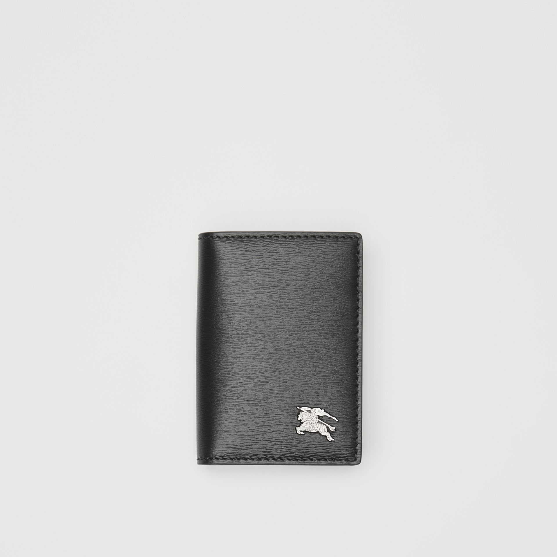 Grainy Leather Folding Card Case in Black - Men | Burberry Canada - gallery image 0