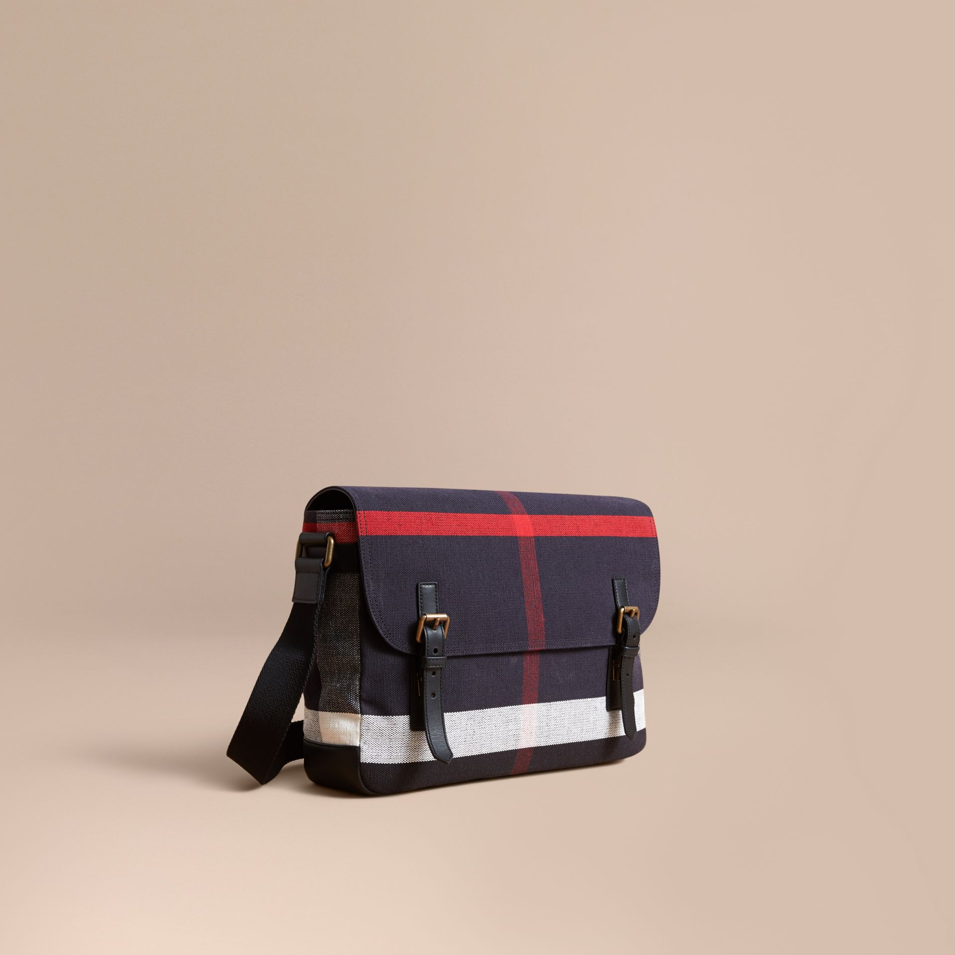 Medium Canvas Check Messenger Bag in Black - Men | Burberry - gallery image 1