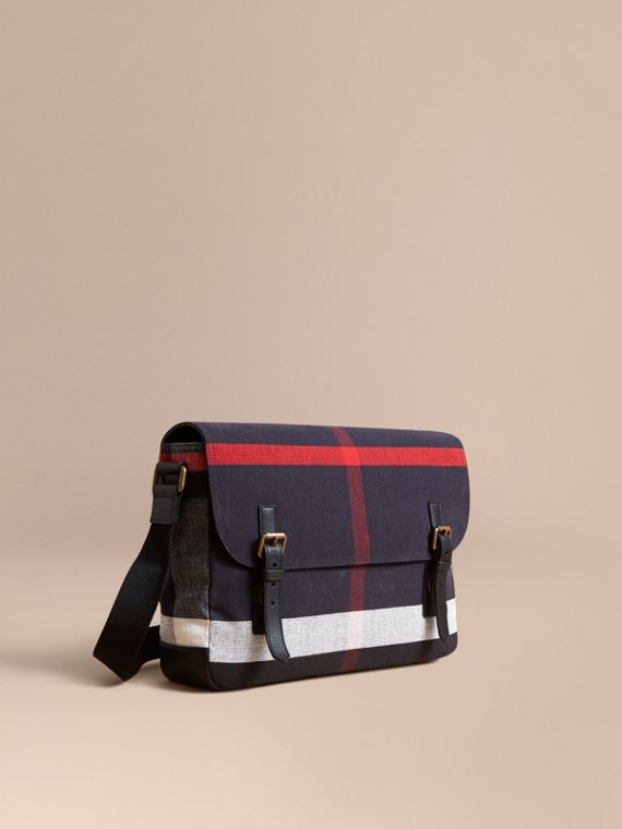 Medium Canvas Check Messenger Bag in Black