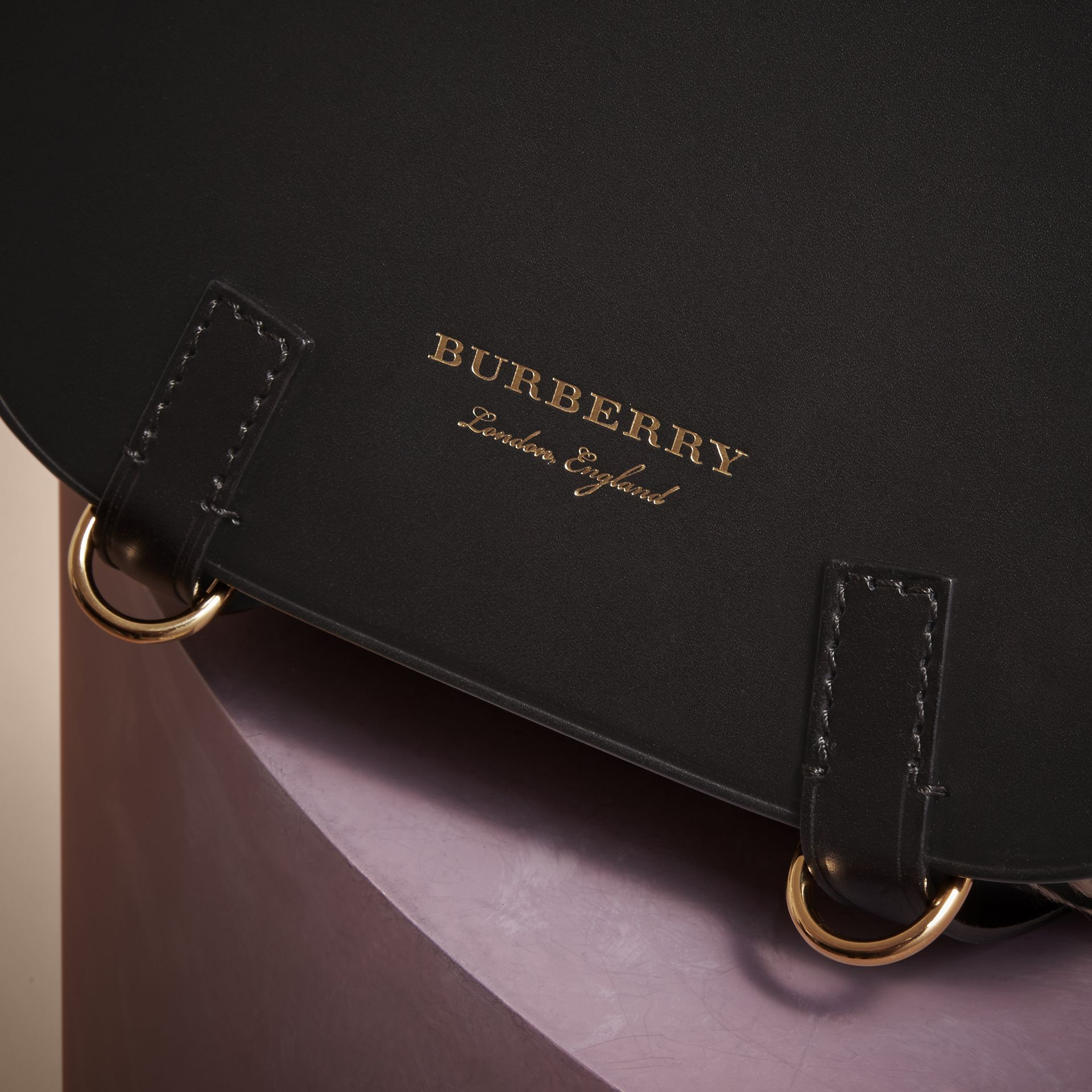 The Bridle Bag in Leather and Calfskin in Black - Women | Burberry United Kingdom - gallery image 2