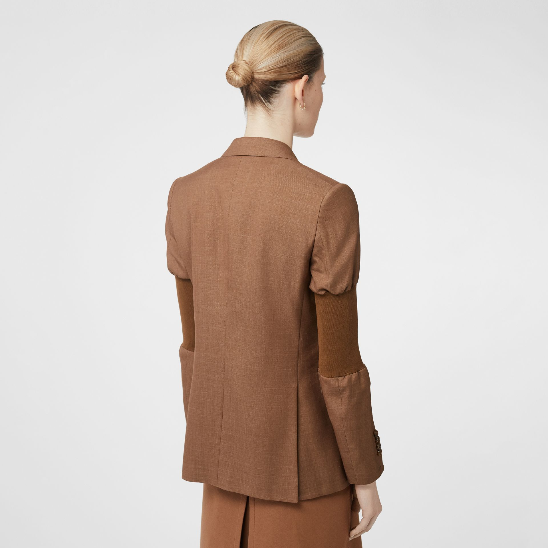 Panelled-sleeve Mohair Wool Blend Tailored Jacket in Bronze - Women | Burberry - gallery image 2