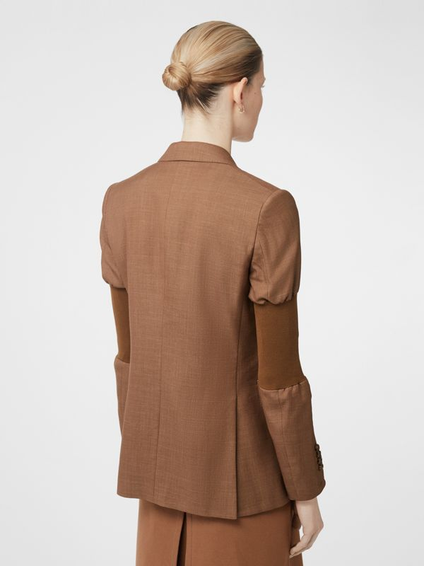 Panelled-sleeve Mohair Wool Blend Tailored Jacket in Bronze - Women | Burberry United Kingdom - cell image 2