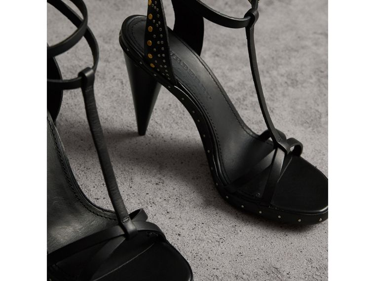 Riveted Leather High Cone-heel Sandals in Black - Women | Burberry Australia - cell image 4