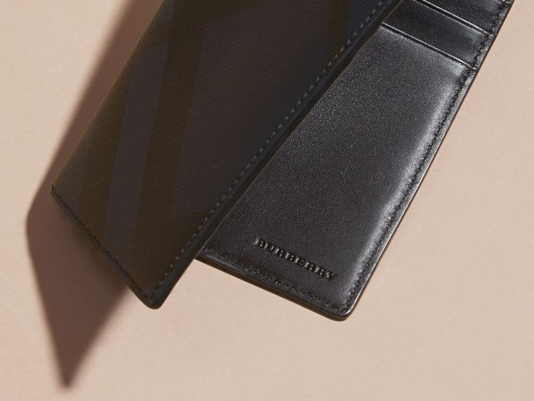 London Check and Leather Passport Holder in Navy/black - Men | Burberry - cell image 1
