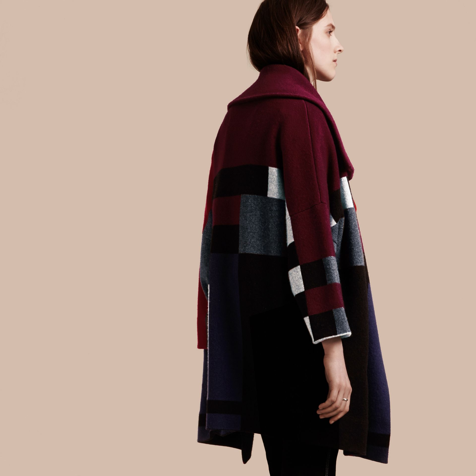 Nero Cappotto cardigan in lana e cashmere con motivo tartan - immagine della galleria 3