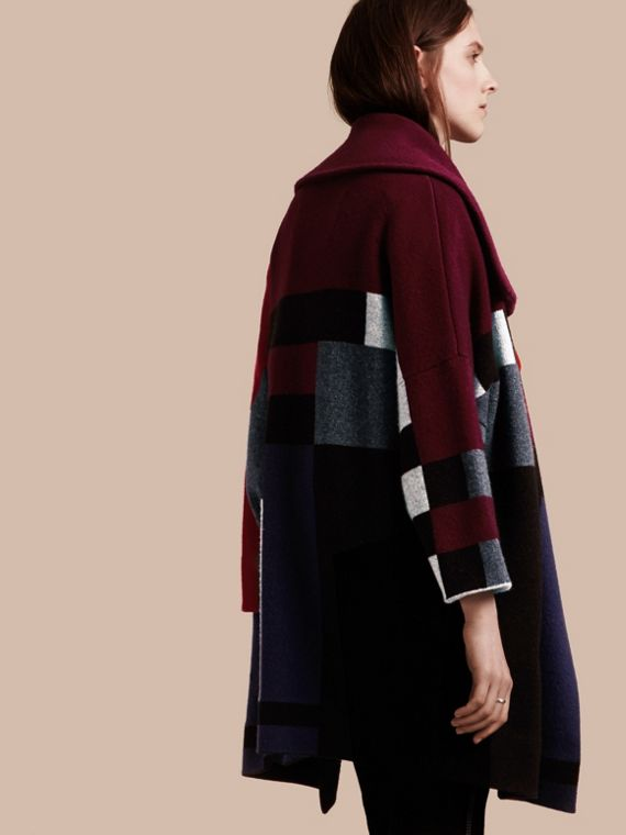 Nero Cappotto cardigan in lana e cashmere con motivo tartan - cell image 2