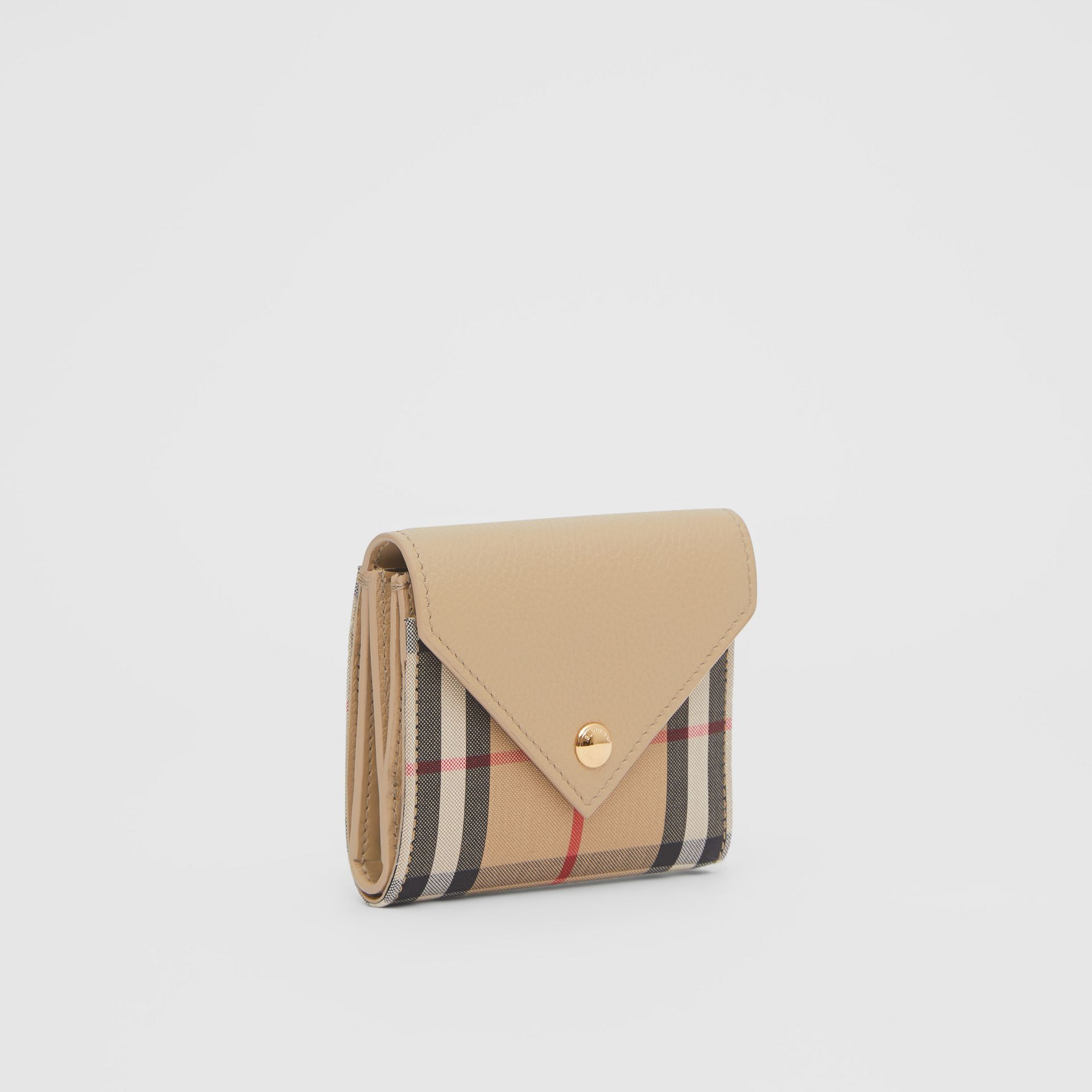 Vintage Check and Grainy Leather Folding Wallet in Light Beige - Women | Burberry Hong Kong S.A.R - gallery image 3