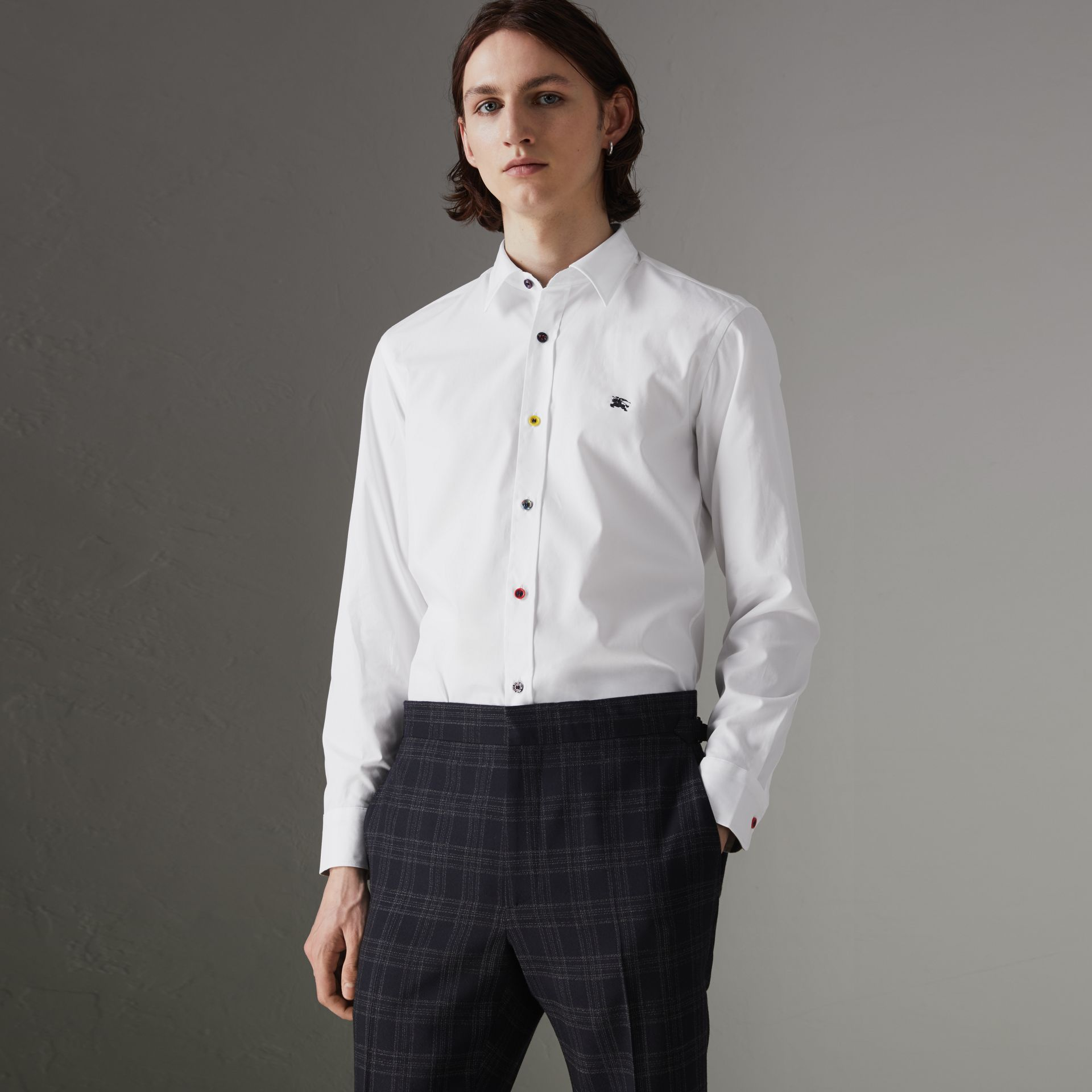 Contrast Button Stretch Cotton Shirt in White - Men | Burberry United Kingdom - gallery image 0