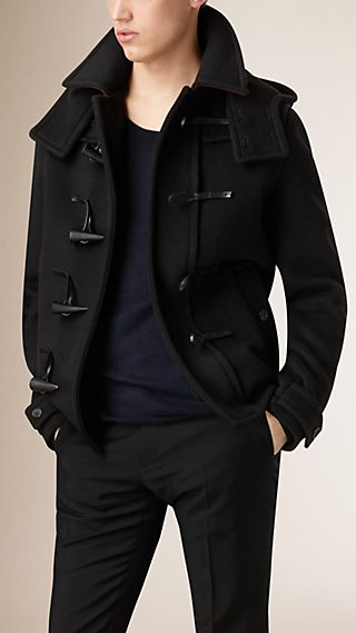 Virgin Wool Duffle Coat with Detachable Hood