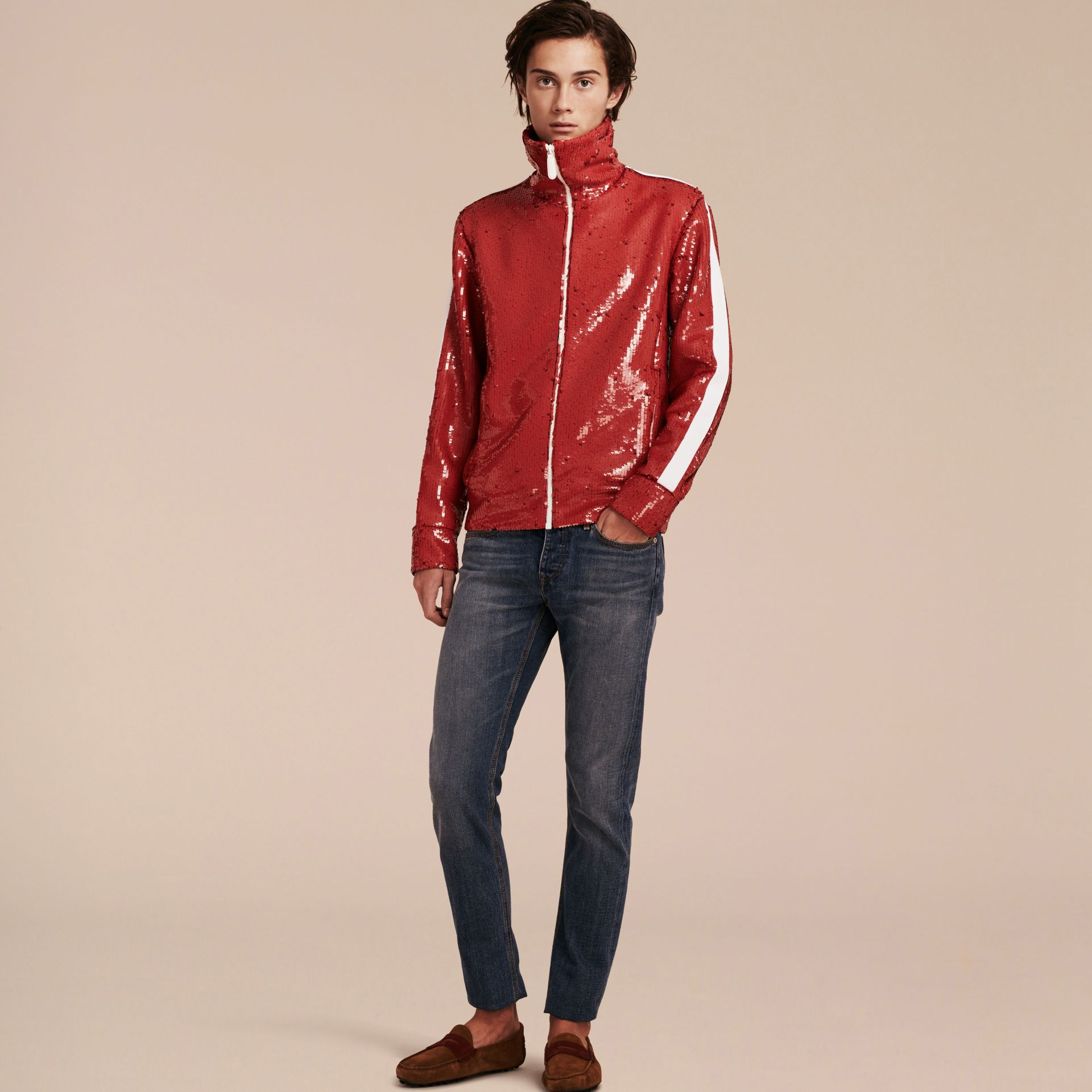 Cranberry red Sequin Track Jacket - gallery image 7