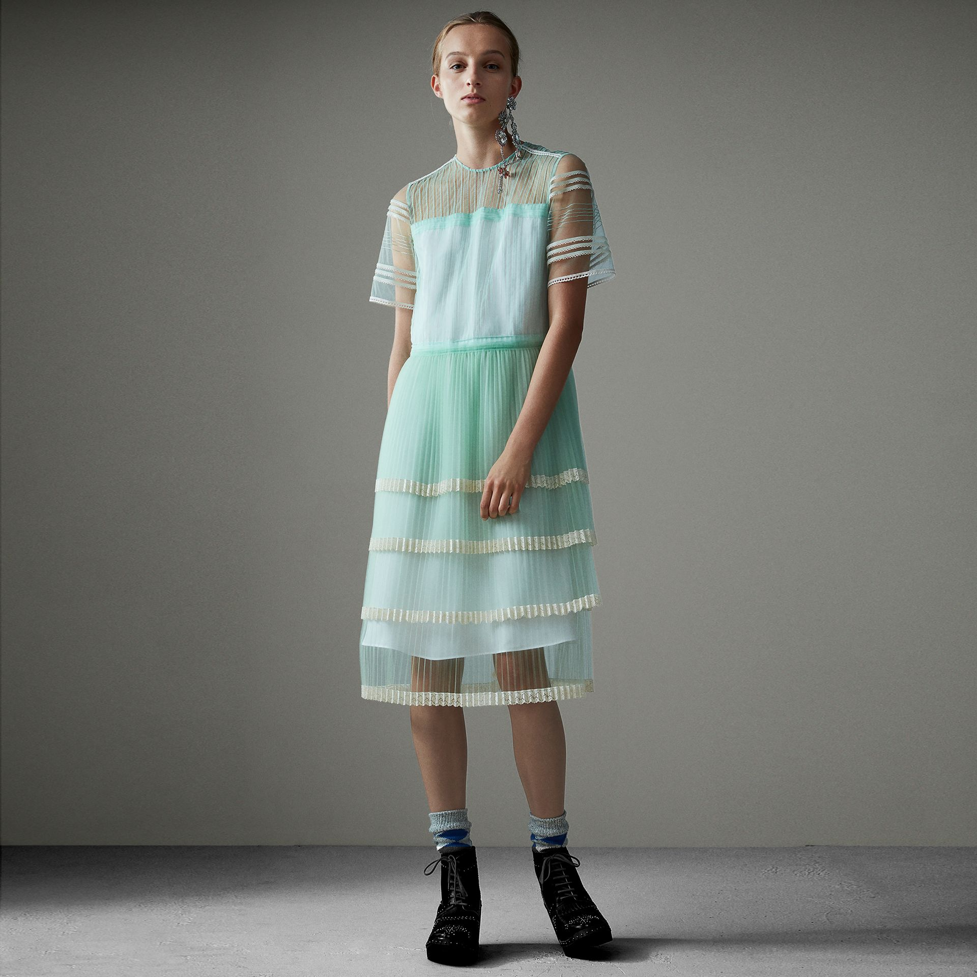 English Lace Trim Pleated Tulle Dress in Light Mint - Women | Burberry United Kingdom - gallery image 0
