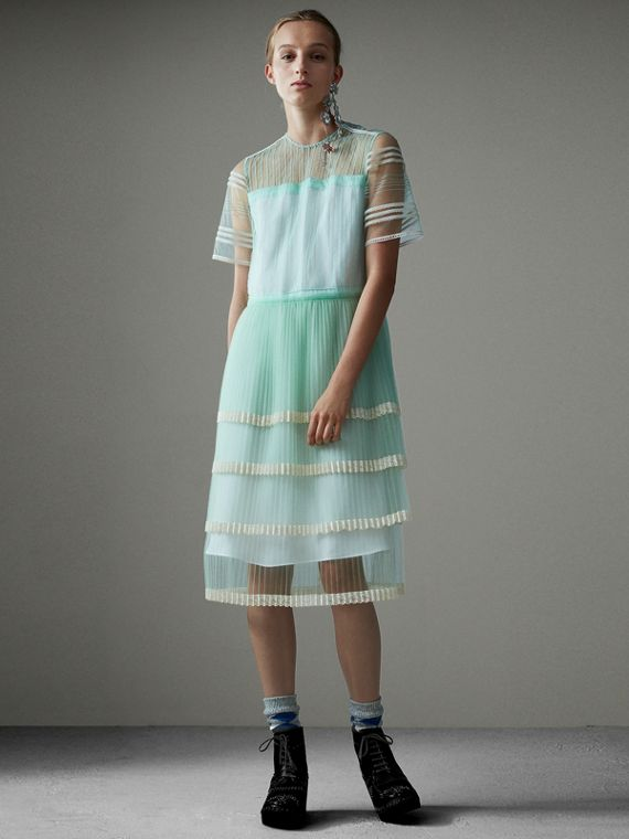 English Lace Trim Pleated Tulle Dress in Light Mint