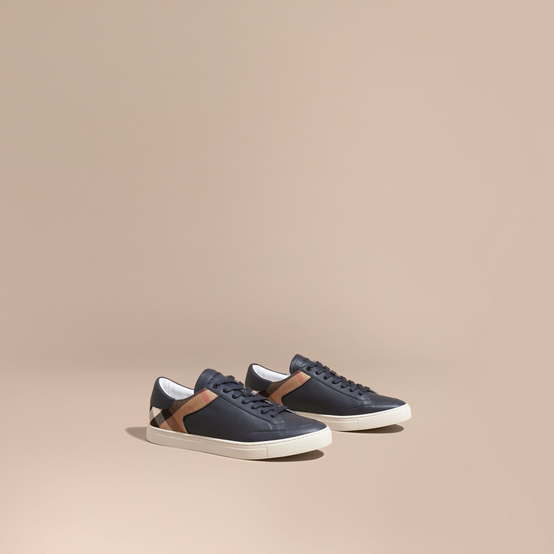 Leather and House Check Trainers in Check/true Navy - gallery image 1