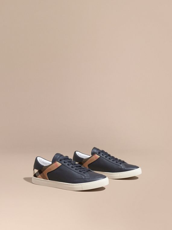 Leather and House Check Trainers in Check/true Navy