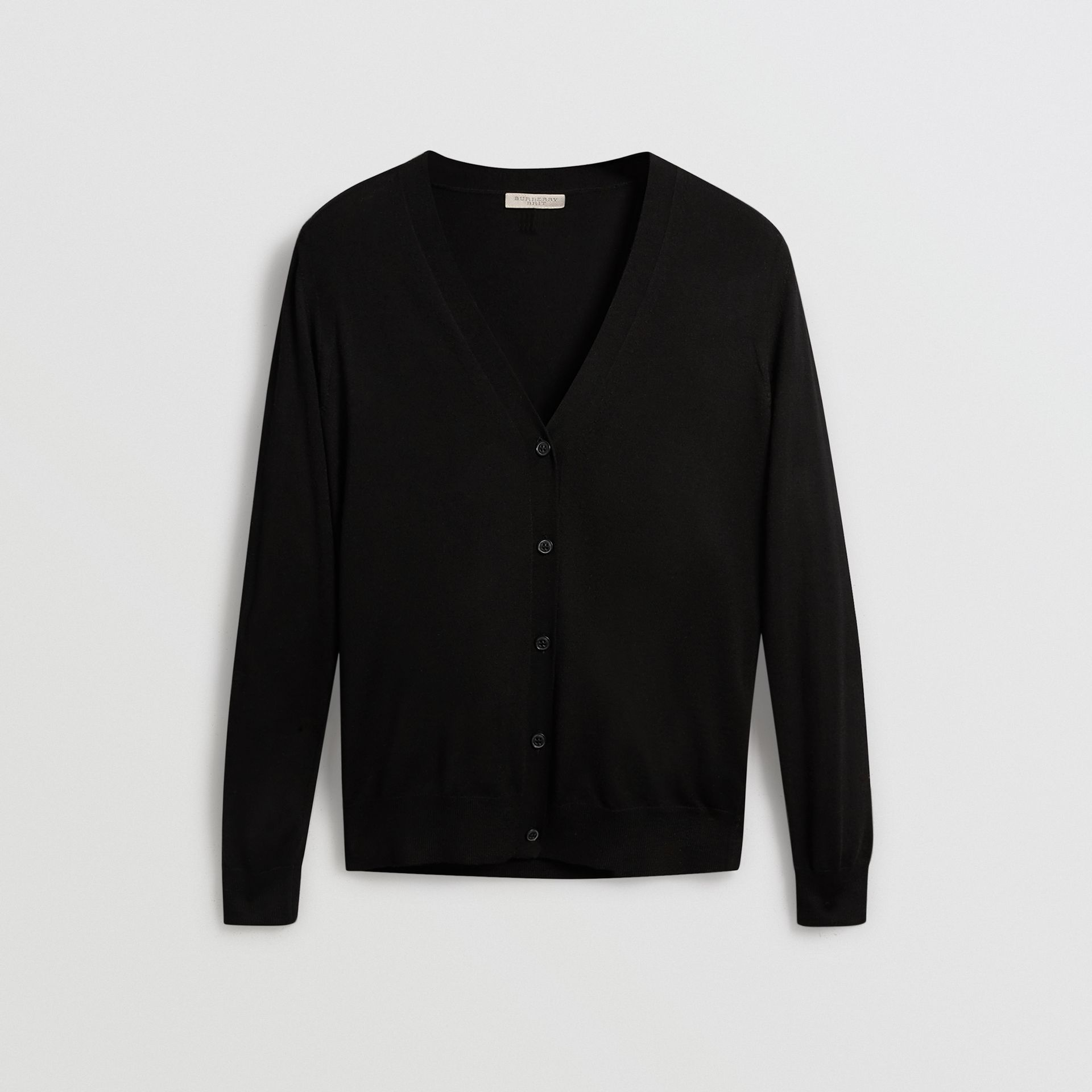 Check Detail Merino Wool Cardigan in Black - Women | Burberry Singapore - gallery image 3