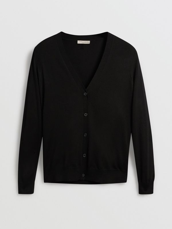 Check Detail Merino Wool Cardigan in Black - Women | Burberry - cell image 3