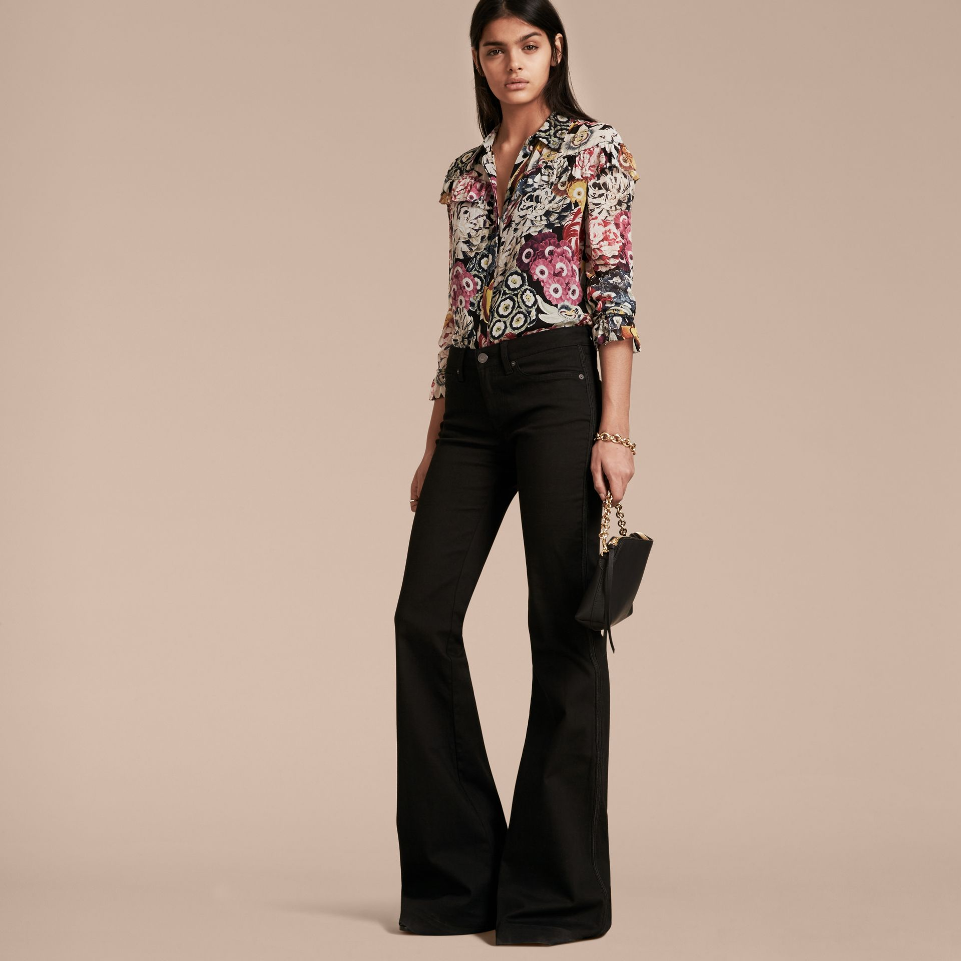 Black Floral Silk Georgette Frill Detail Shirt - gallery image 6