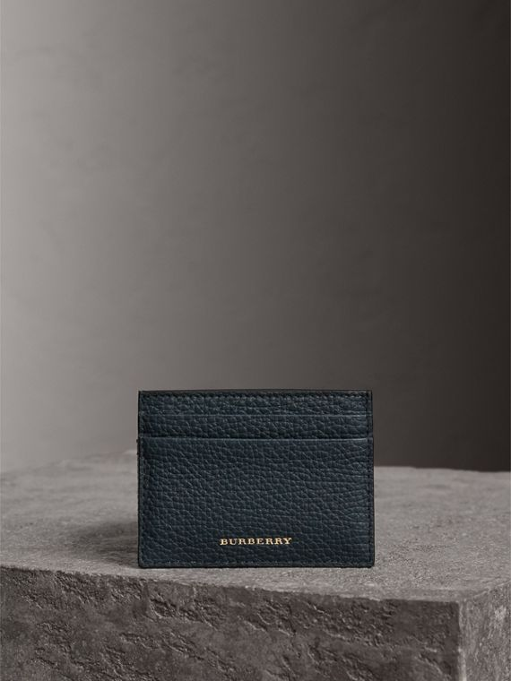 House Check and Grainy Leather Card Case in Storm Blue | Burberry - cell image 3