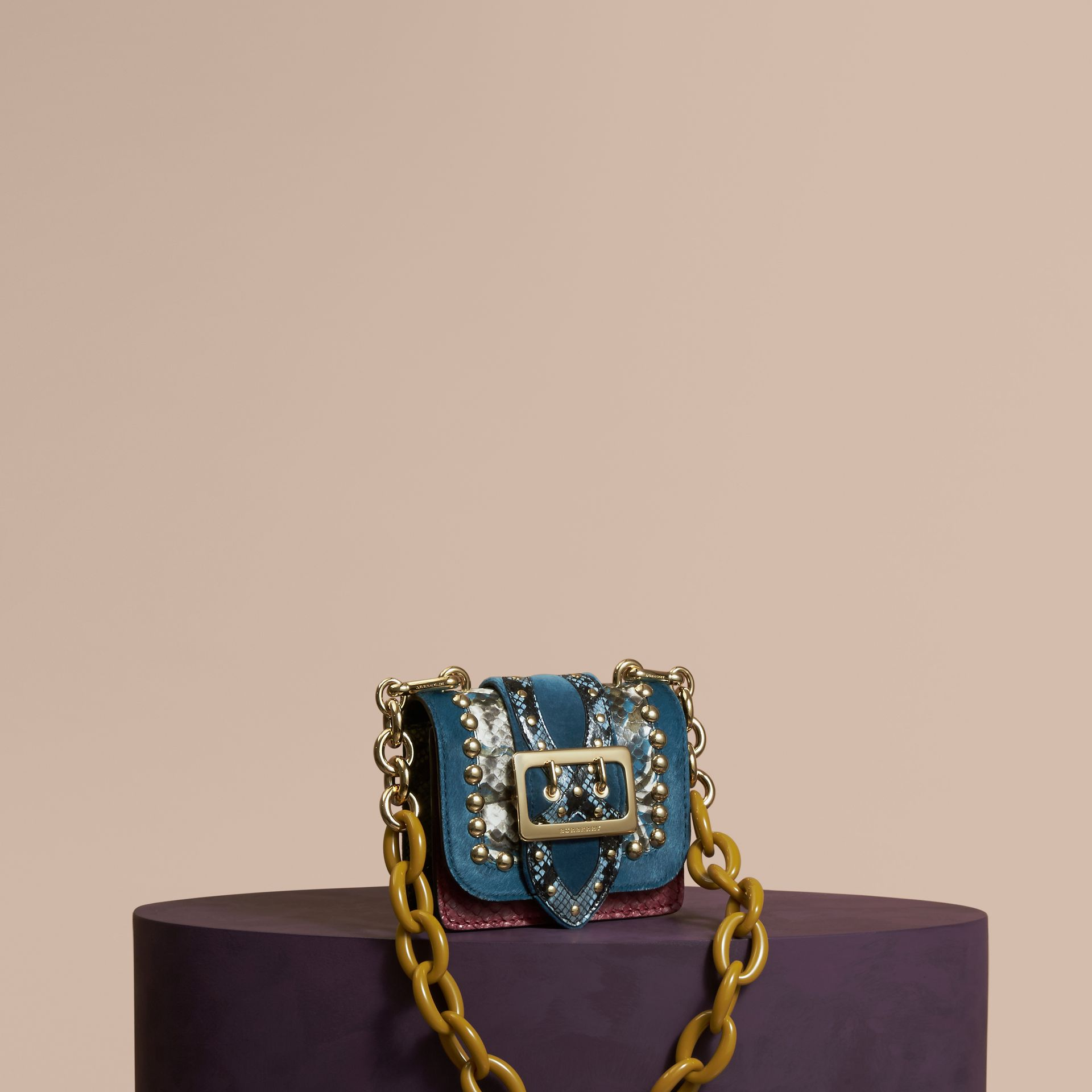 The Mini Square Buckle Bag in Calfskin, Snakeskin and Velvet in Pale Opal - gallery image 1