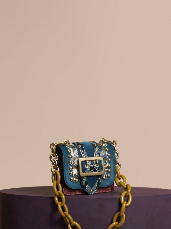 The Mini Square Buckle Bag in Calfskin, Snakeskin and Velvet Pale Opal