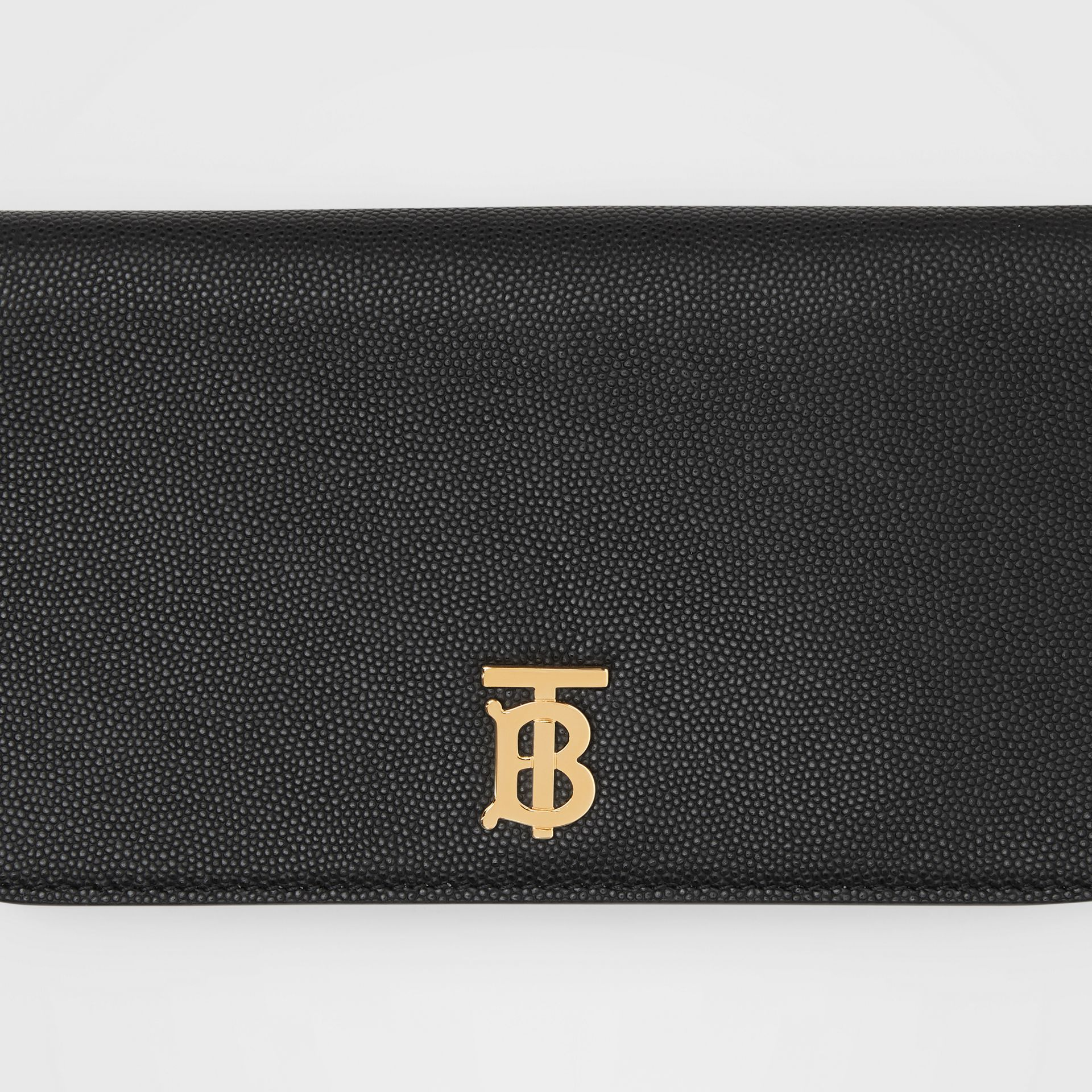 Grainy Leather Phone Wallet with Strap in Black - Women | Burberry United States - gallery image 1