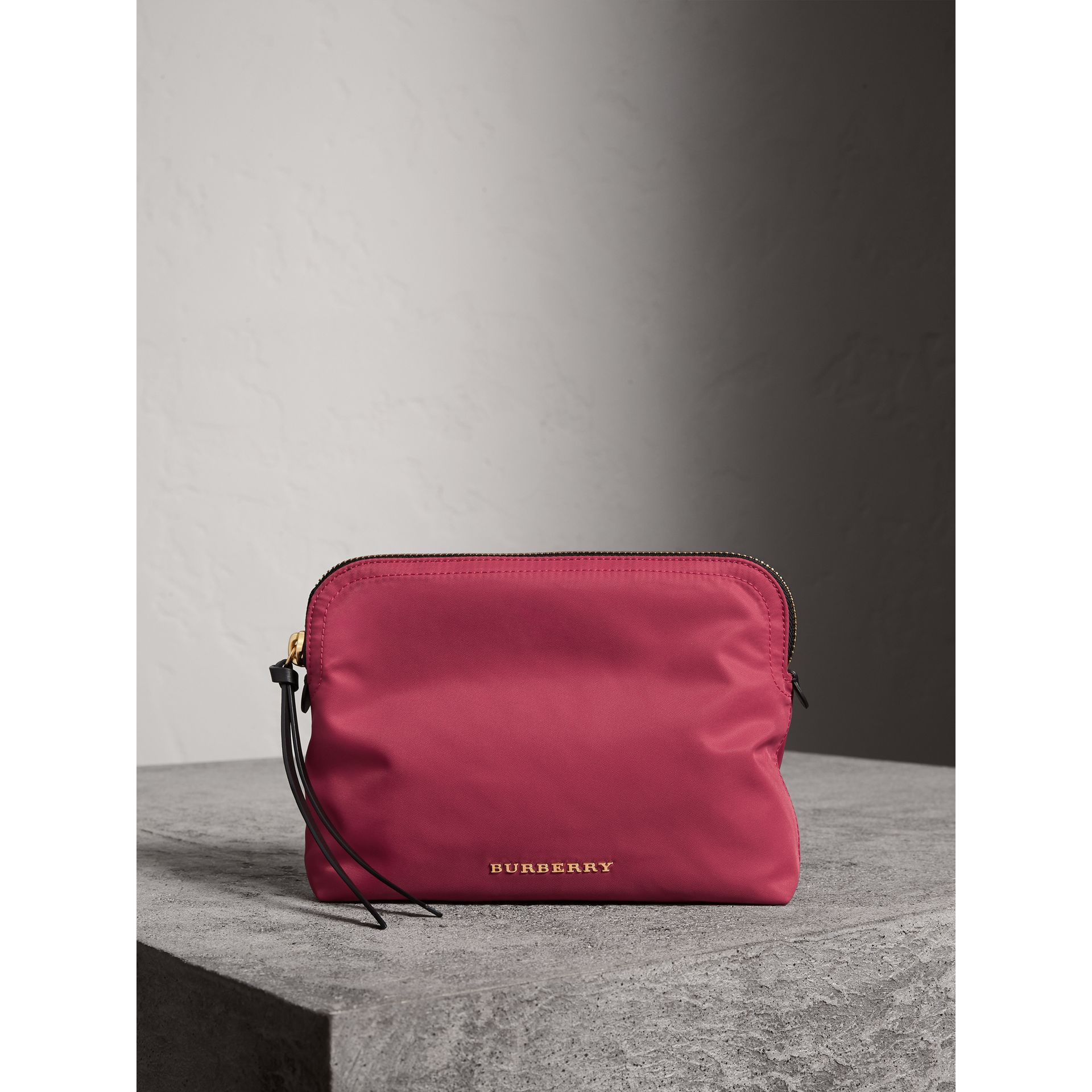 Large Zip-top Technical Nylon Pouch in Plum Pink - Women | Burberry Australia - gallery image 1