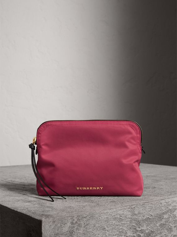 Large Zip-top Technical Nylon Pouch in Plum Pink