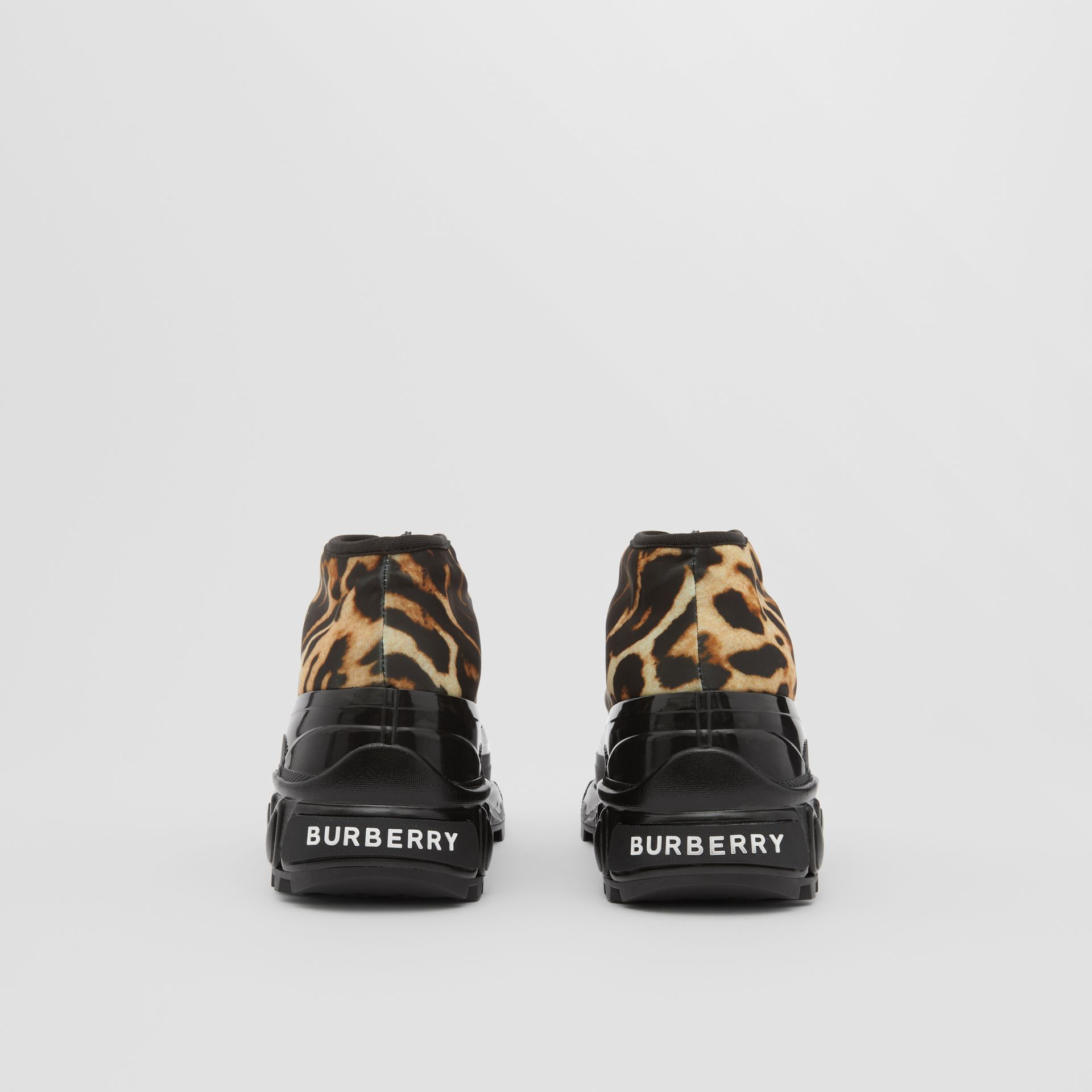 Leopard Print Nylon Arthur Sneakers in Camel - Women | Burberry - gallery image 4