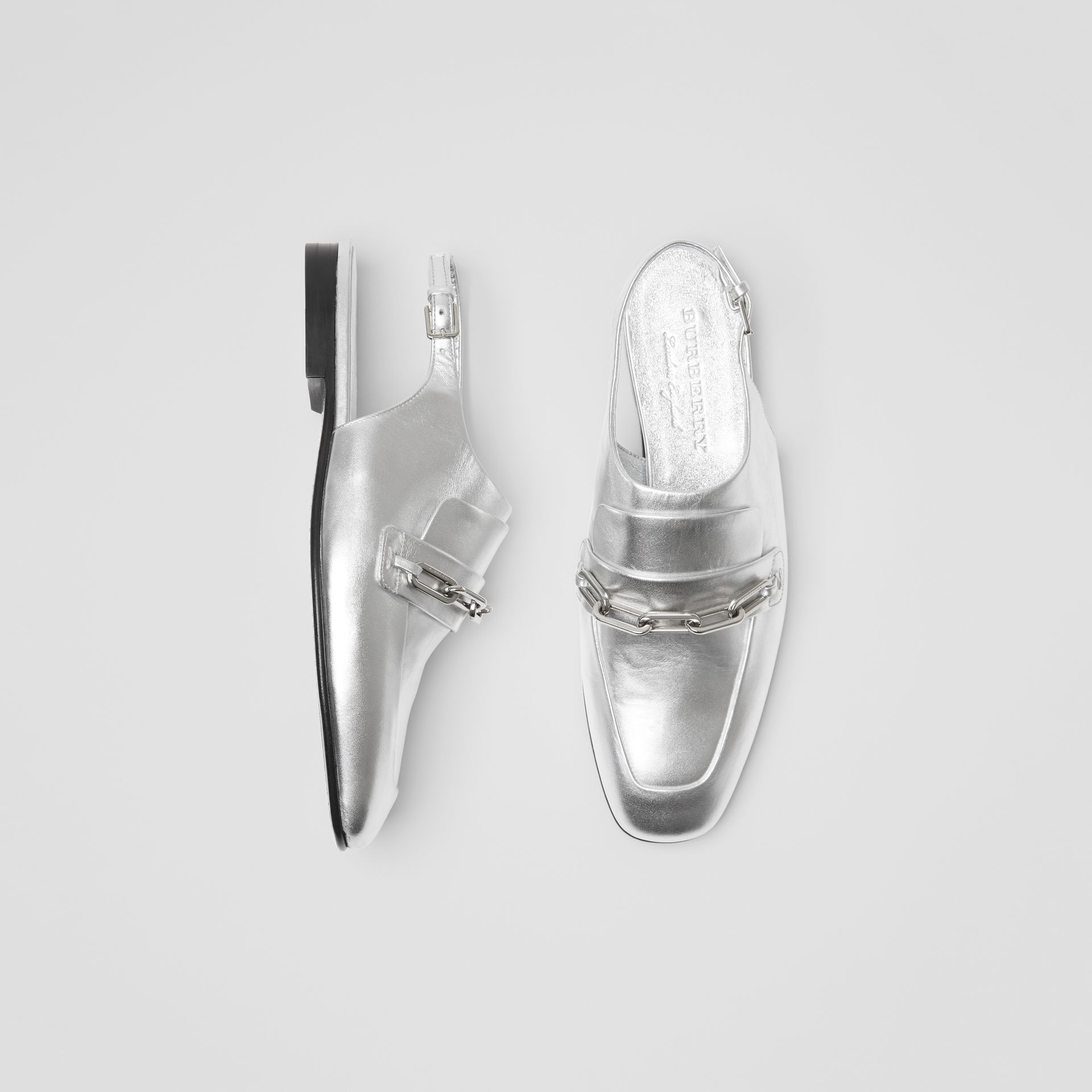 Link Detail Leather Slingback Loafers in Silver Grey - Women | Burberry - gallery image 0
