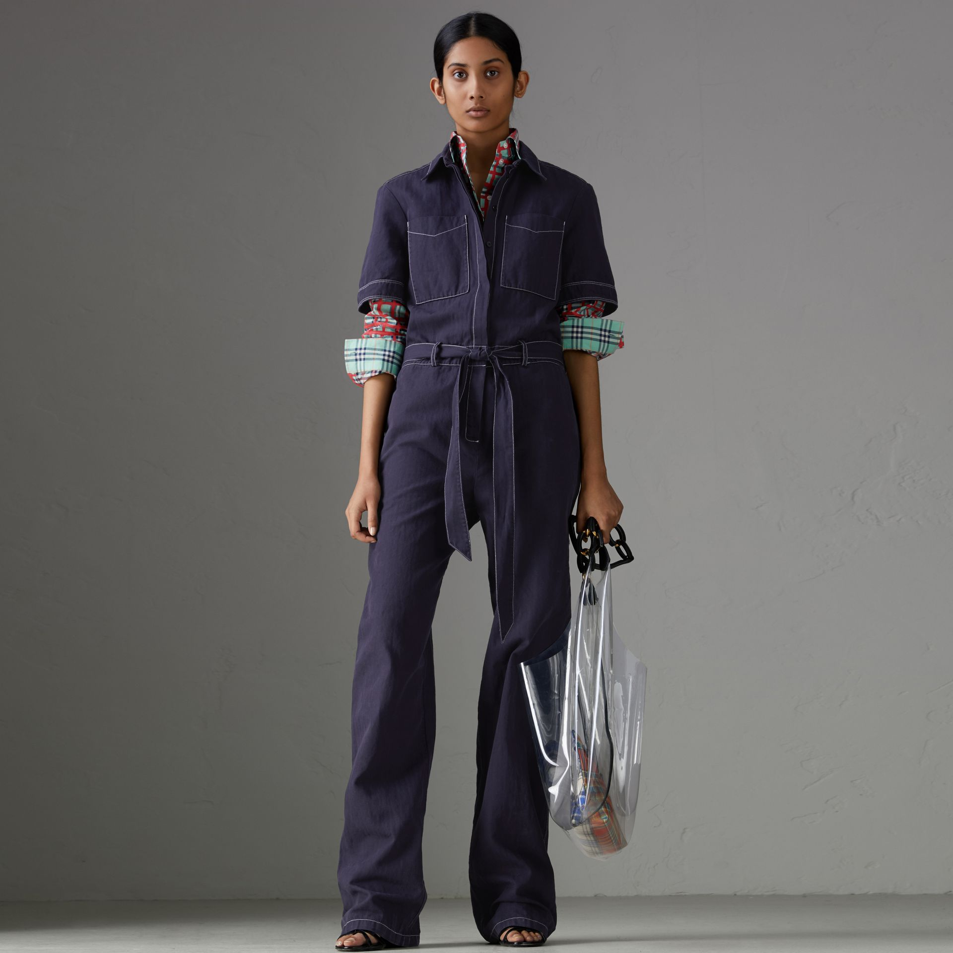 Cotton Linen Workwear Jumpsuit in Deep Indigo - Women | Burberry United States - gallery image 0