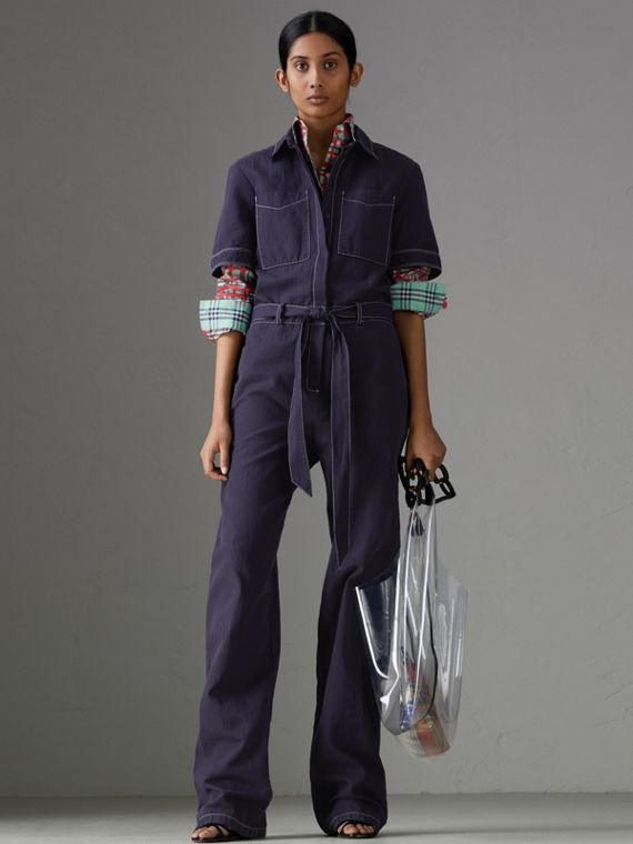 Cotton Linen Workwear Jumpsuit in Deep Indigo