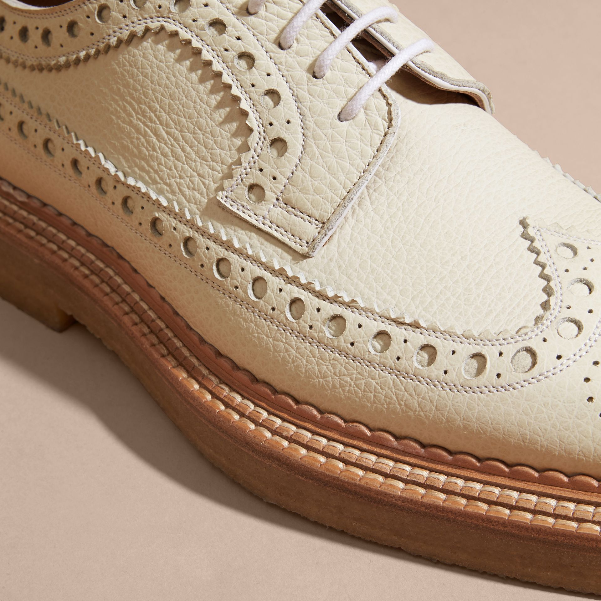 Leather Wingtip Brogues Off White - gallery image 2