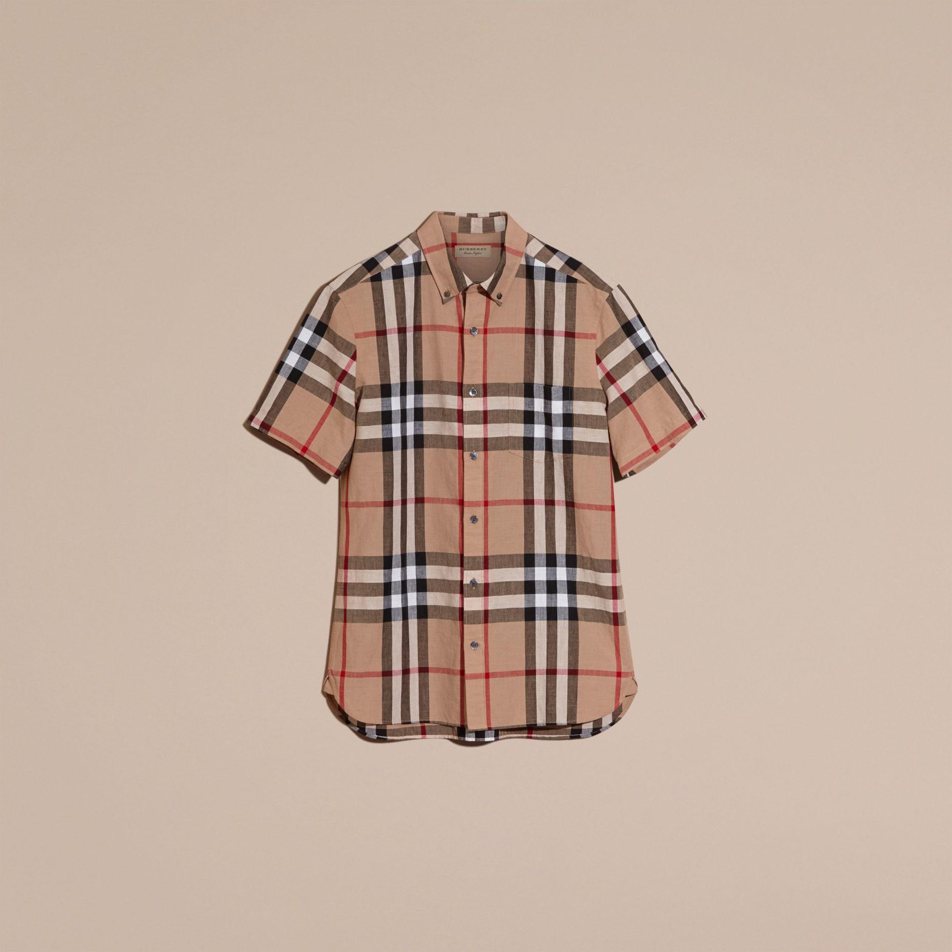 Short-sleeved Check Linen Cotton Shirt Camel - gallery image 3