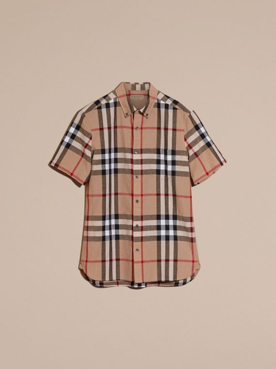 Short-sleeved Check Linen Cotton Shirt Camel - cell image 2
