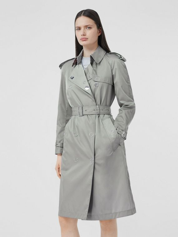 Press-stud Detail ECONYL® Trench Coat in Cloud Grey