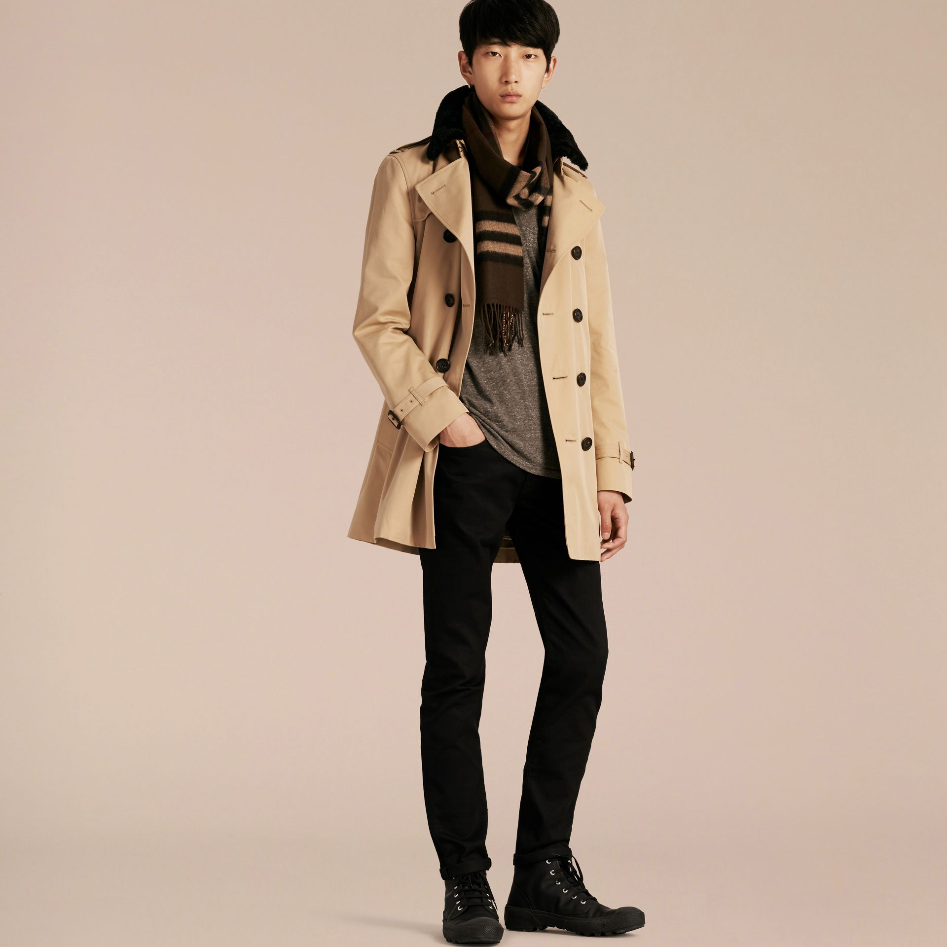 Detachable Shearling Topcollar Cotton Gabardine Trench Coat with Warmer in Honey - gallery image 7