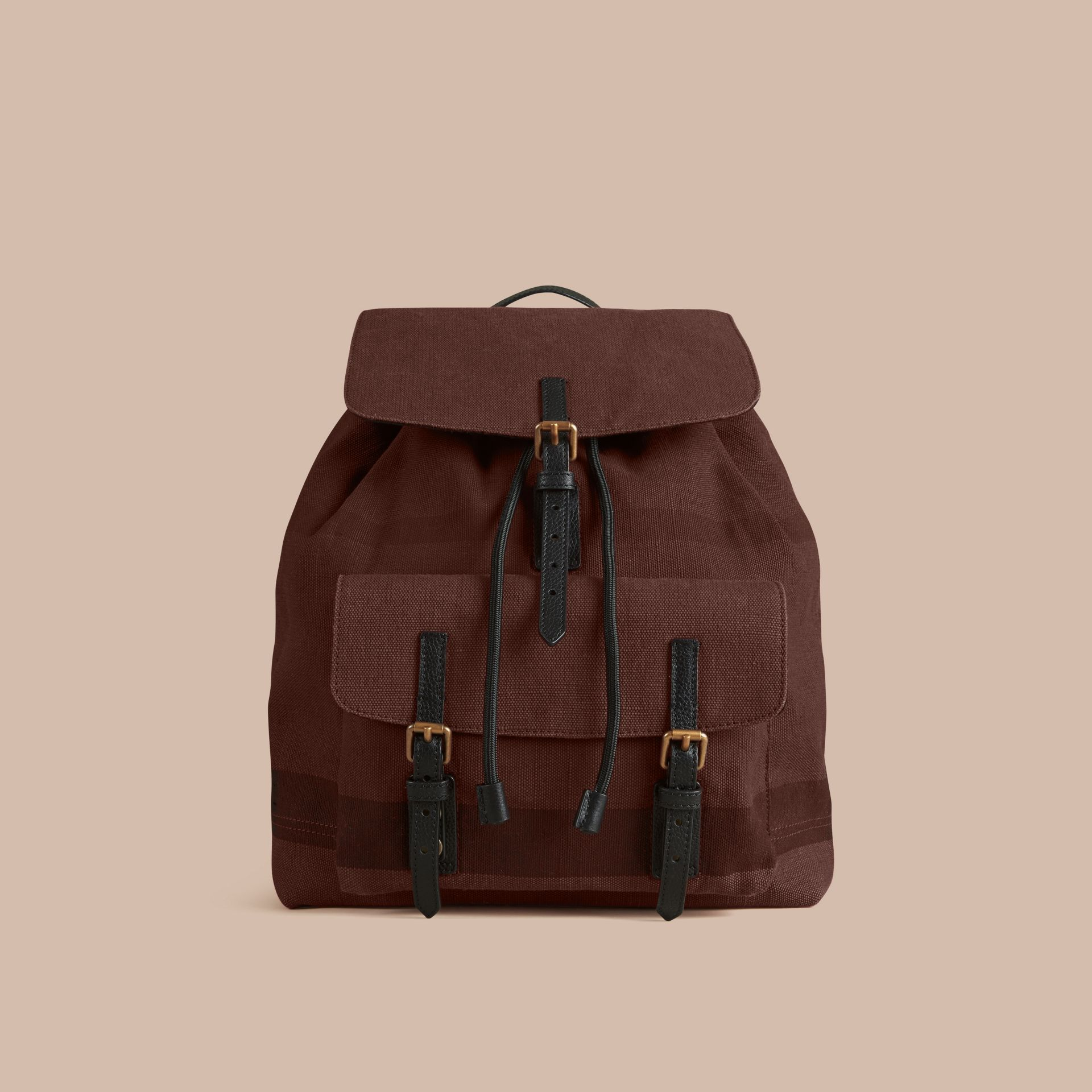 Claret Overdyed Canvas Check Backpack Claret - gallery image 7