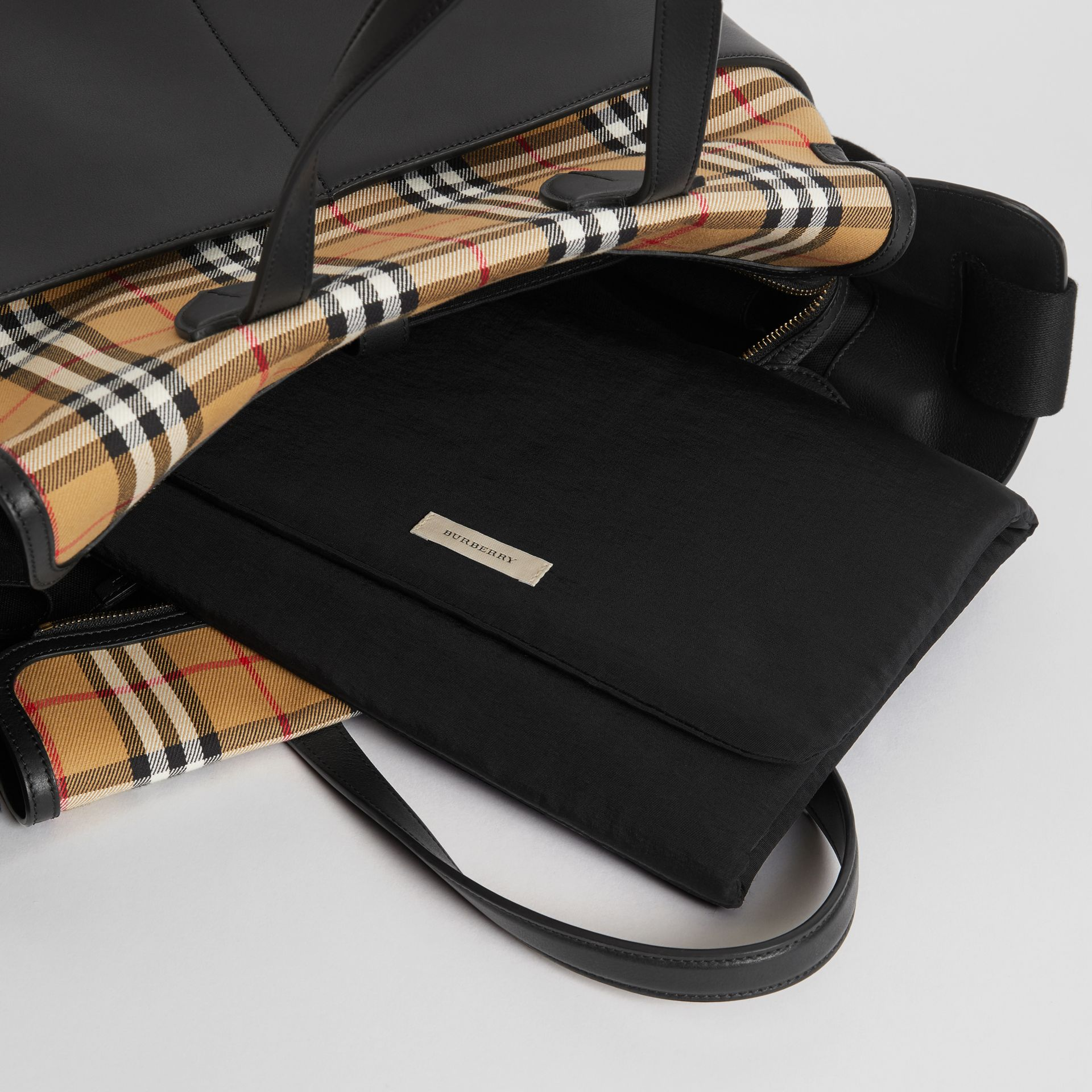 Vintage Check and Leather Baby Changing Tote in Black - Children | Burberry Singapore - gallery image 3