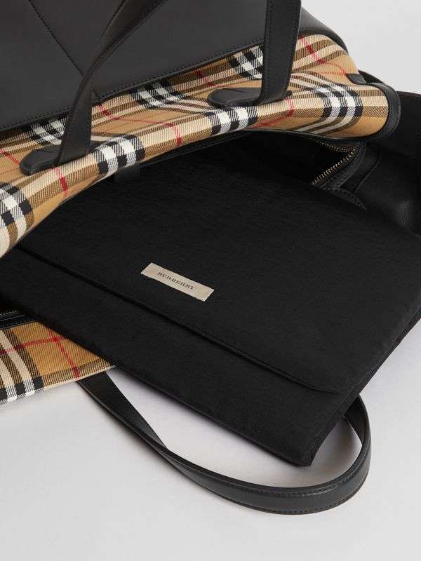 Vintage Check and Leather Baby Changing Tote in Black - Children | Burberry Singapore - cell image 3