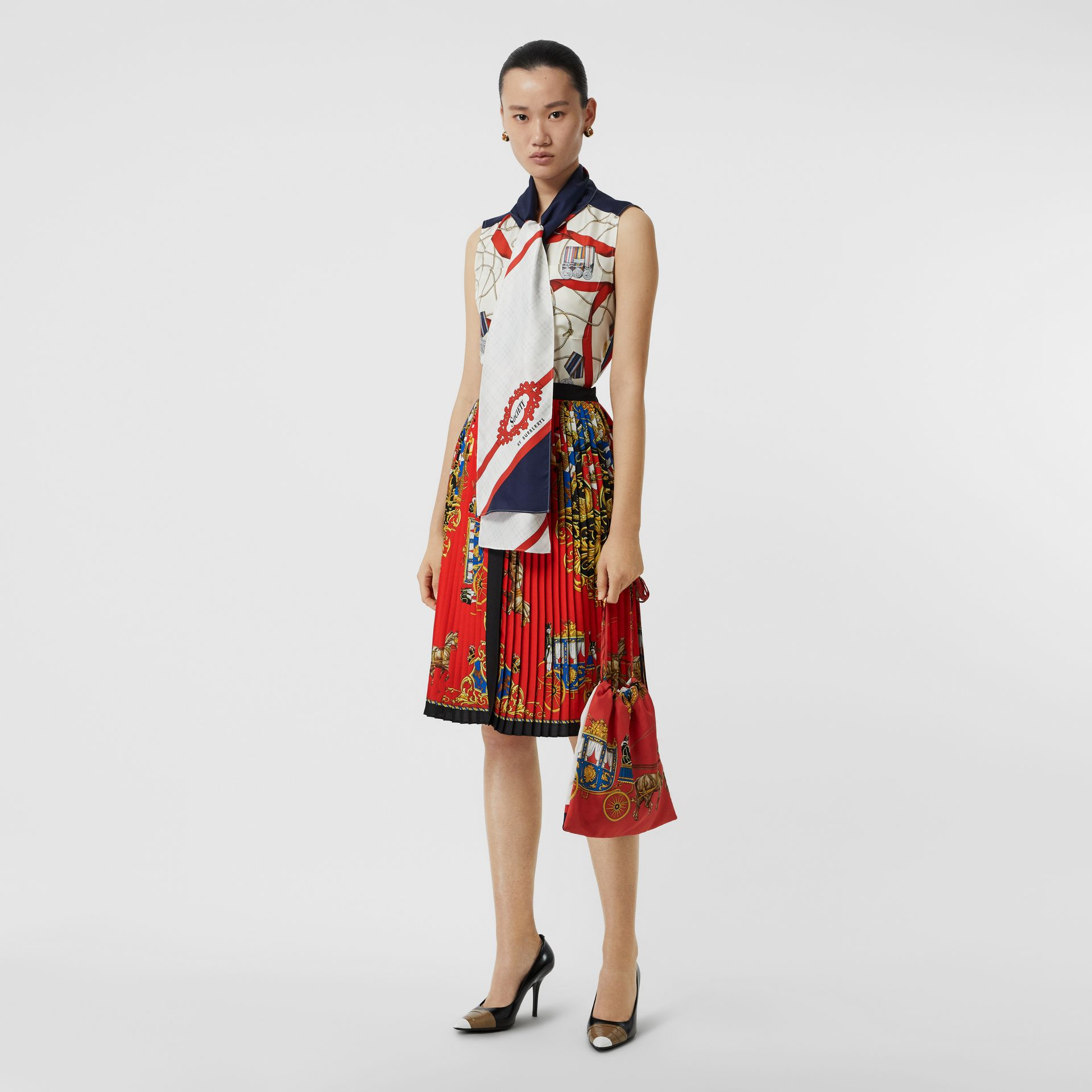 Archive Scarf Print Pleated Skirt in Bright Orange - Women | Burberry United States - gallery image 0