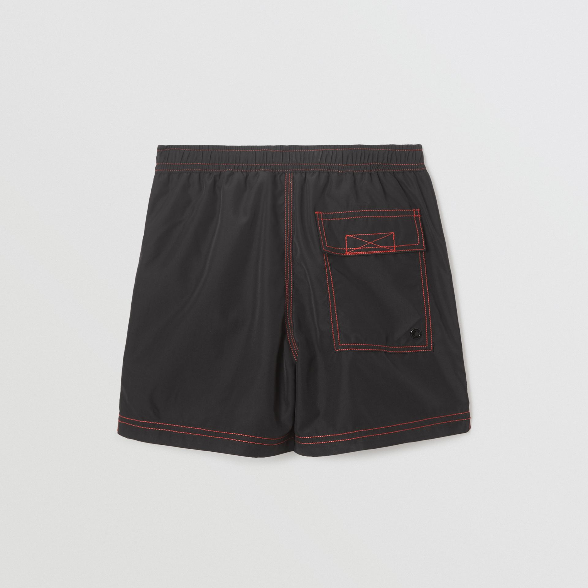Logo Print Drawcord Swim Shorts in Black | Burberry - gallery image 3