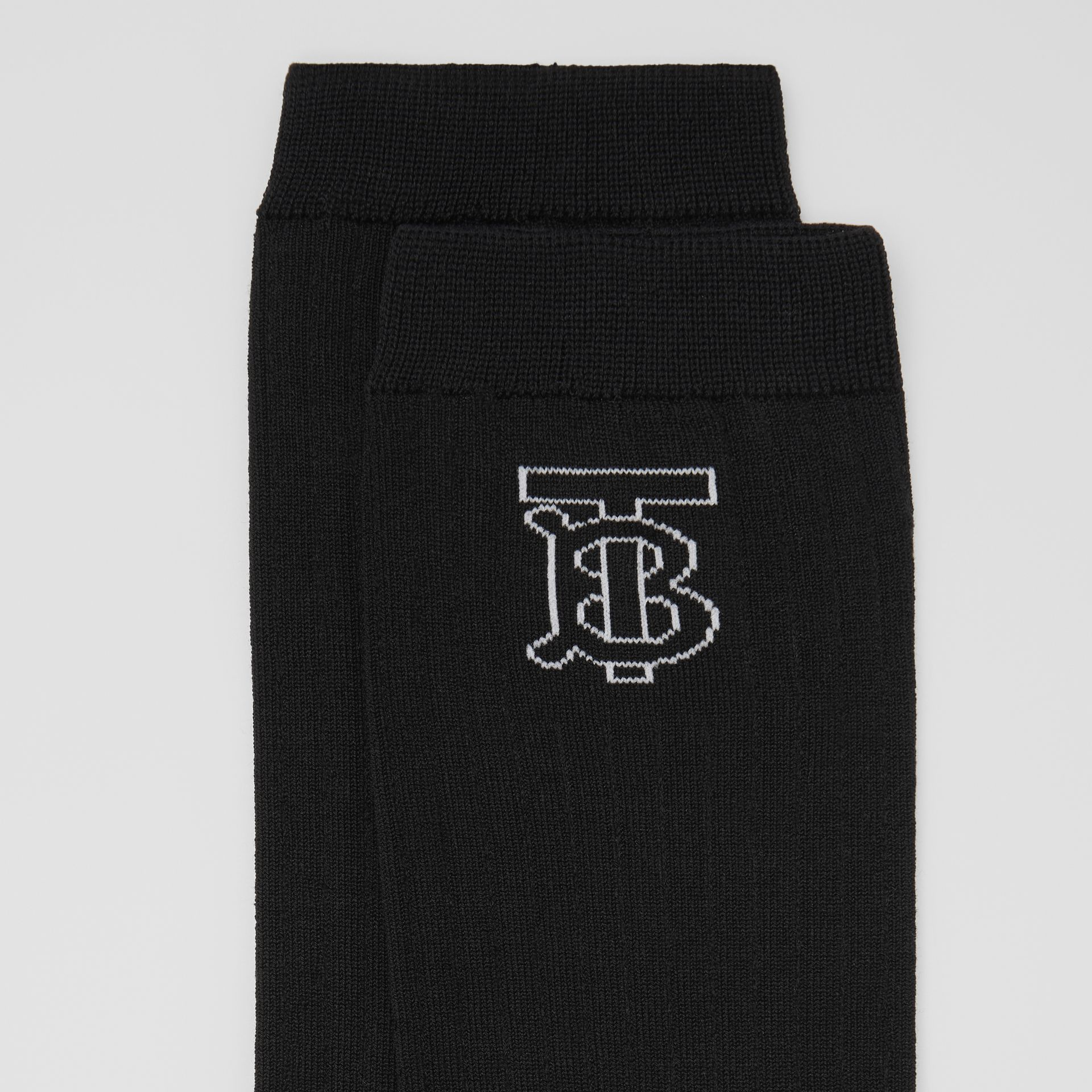 Monogram Intarsia Cotton Blend Socks in Black/white | Burberry Australia - gallery image 1