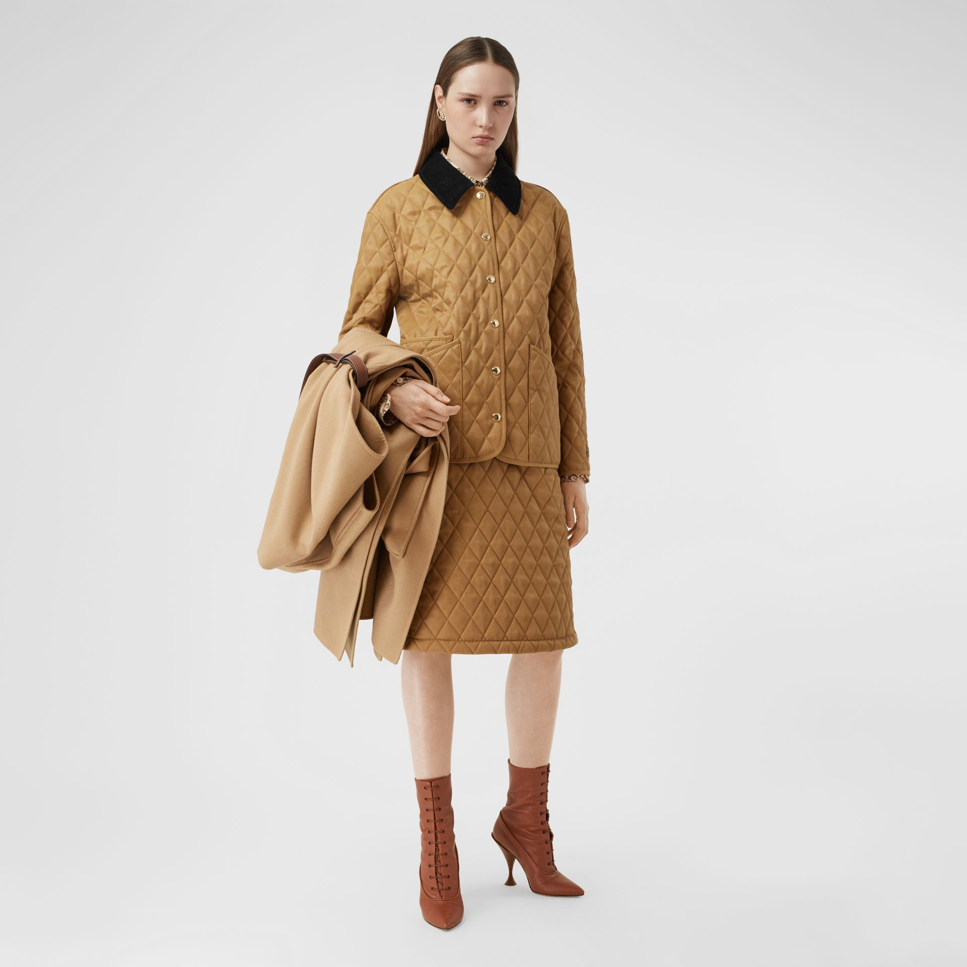 Diamond Quilted Twill A-line Skirt in Camel | Burberry United Kingdom - gallery image 4