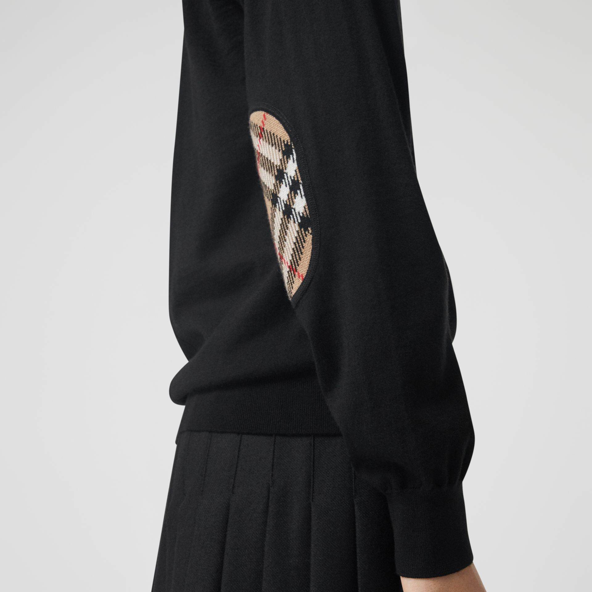 Vintage Check Detail Merino Wool Cardigan in Black - Women | Burberry Hong Kong - gallery image 1