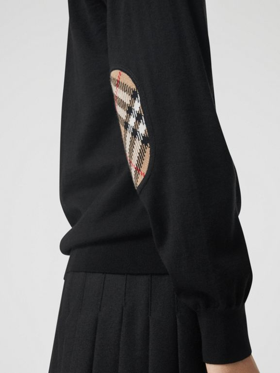 Vintage Check Detail Merino Wool Cardigan in Black - Women | Burberry United States - cell image 1