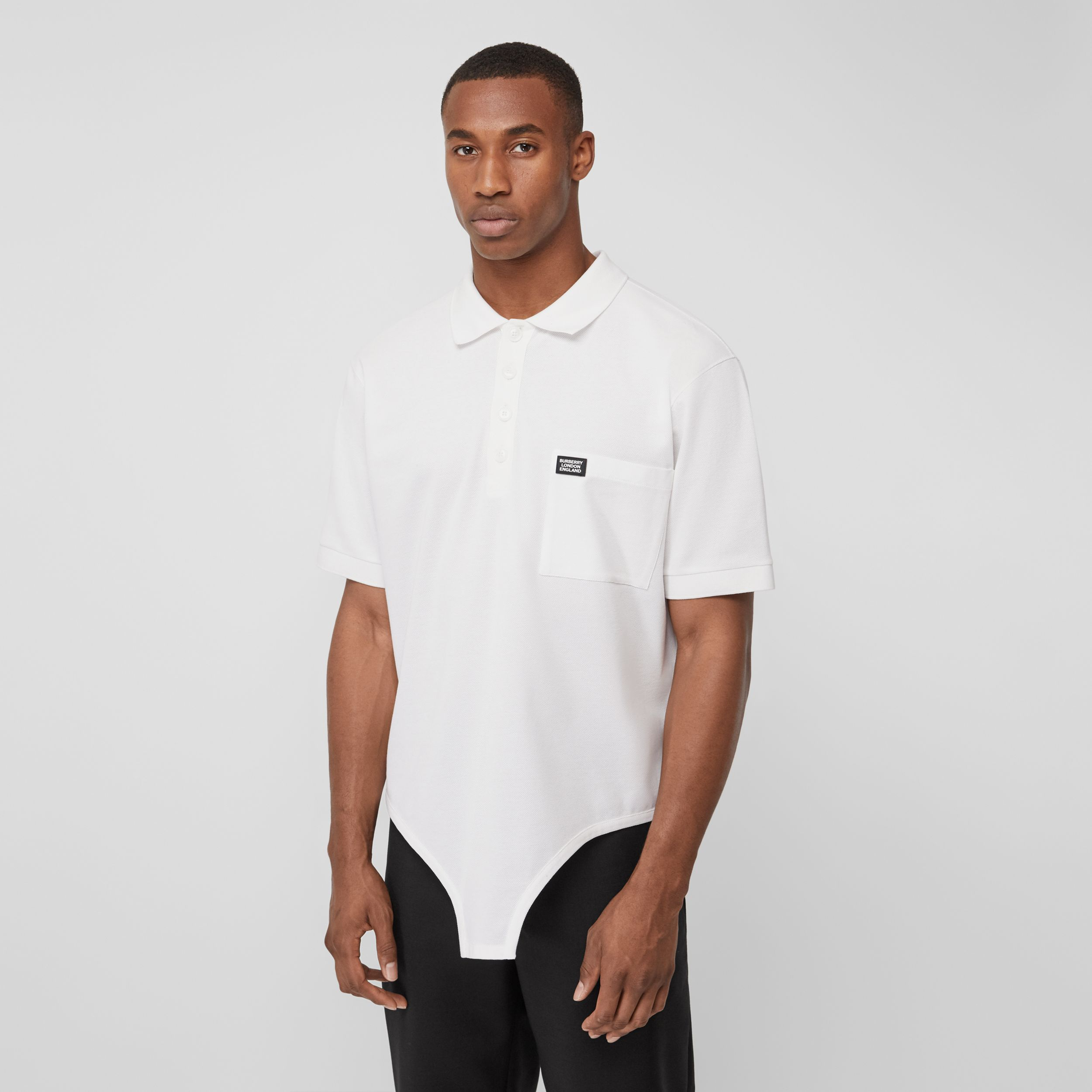 Cut-out Hem Cotton Reconstructed Polo Shirt in Optic White - Men | Burberry - 1